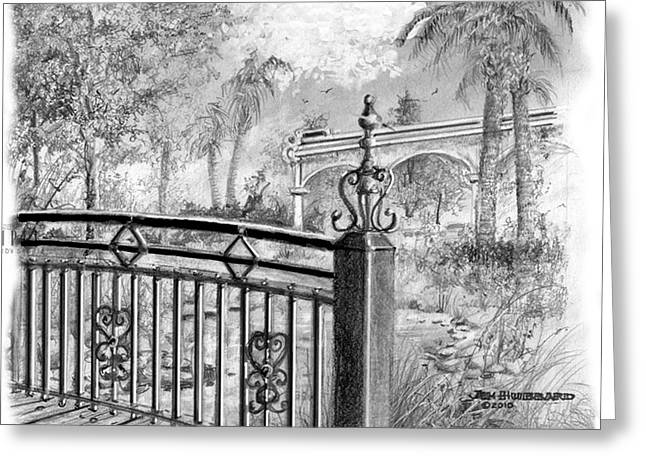 Florida Bridge Drawings Greeting Cards - Footbridge-Spanish Springs Greeting Card by Jim Hubbard
