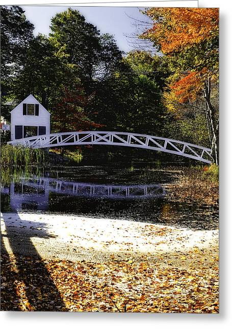 Somesville Maine Greeting Cards - Footbridge with Autumn Colors Greeting Card by George Oze
