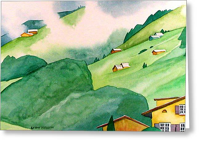 Scott Nelson Paintings Greeting Cards - Foothills of Au Greeting Card by Scott Nelson