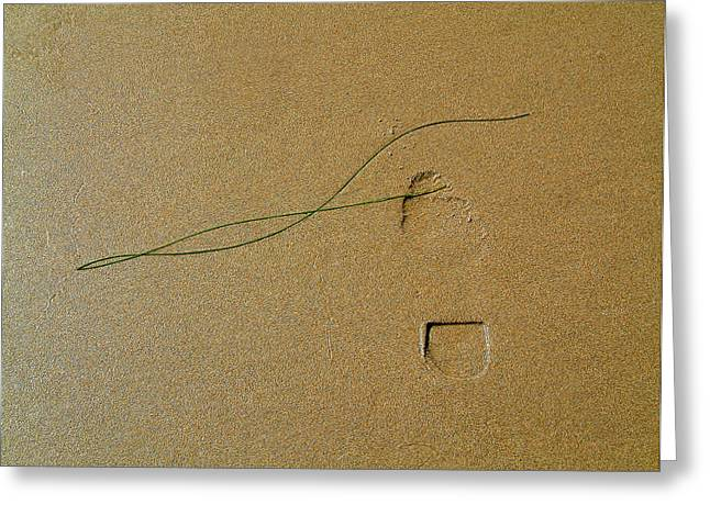 Realization Greeting Cards - Footprint And Seaweed In Sand Greeting Card by Michael Roll