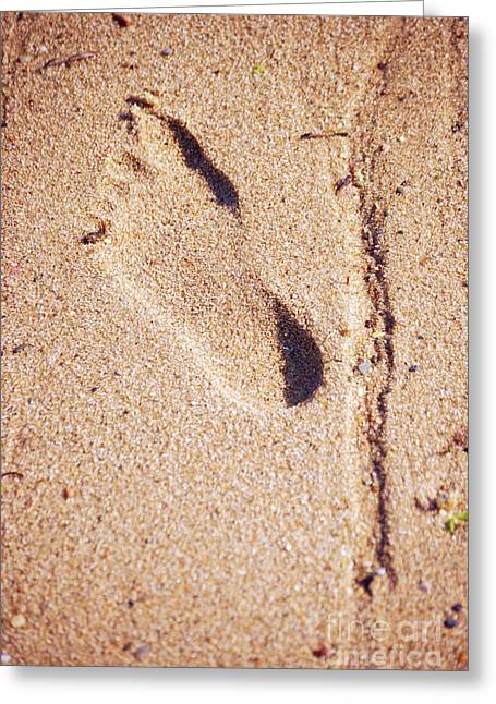 Footprints Photographs Greeting Cards - Footprint In The Sand Greeting Card by HD Connelly