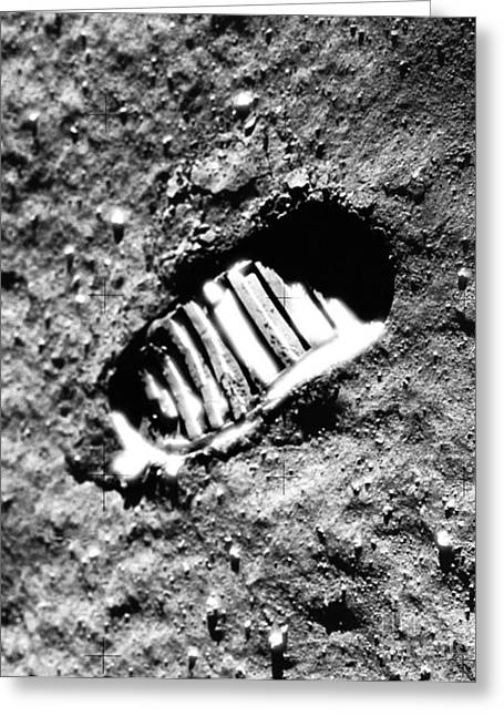 Neil Armstrong The Moon Greeting Cards - Footprint On The Moon Greeting Card by NASA  Science Source