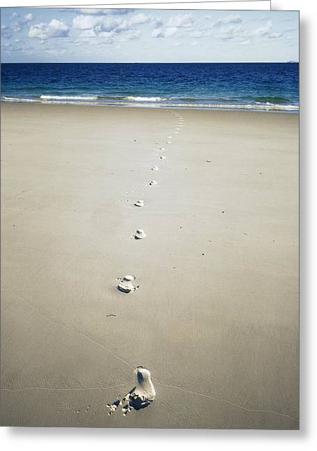 Whitsunday Greeting Cards - Footprints Greeting Card by Carlos Dominguez