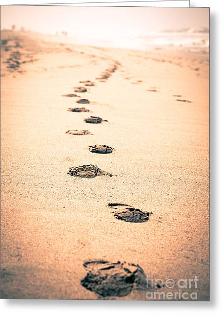 Footsteps Greeting Cards - Footprints in Sand Greeting Card by Paul Velgos