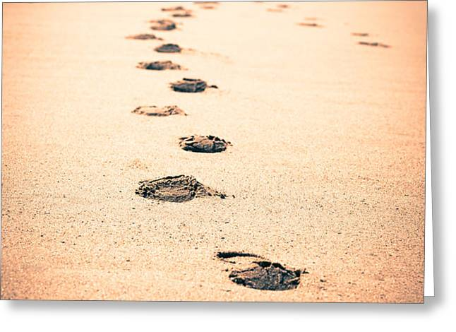 Footprints in Sand Greeting Card by Paul Velgos