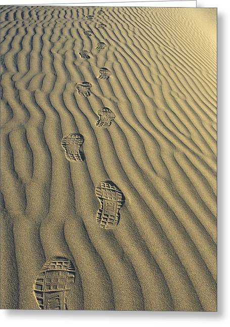 Nike Shoes Greeting Cards - Footprints in the Sand Greeting Card by Joe  Palermo