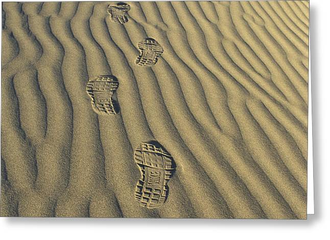 Footprints in the Sand Greeting Card by Joe  Palermo