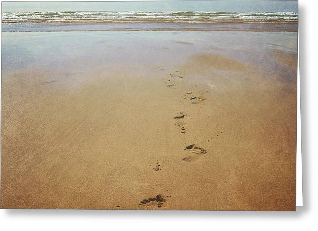 Lyn Randle Greeting Cards - Footprints in the sand Greeting Card by Lyn Randle