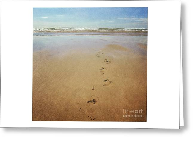 Footprints In The Sand Greeting Card by Lyn Randle
