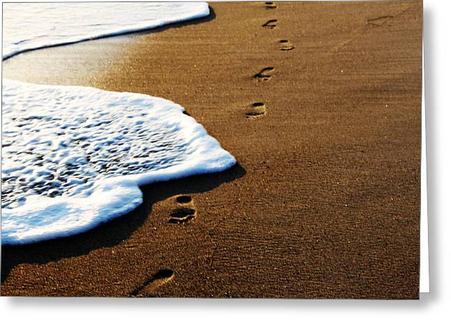 William And Magdalena Green Greeting Cards - Footprints in the Sand Greeting Card by Magdalena Green