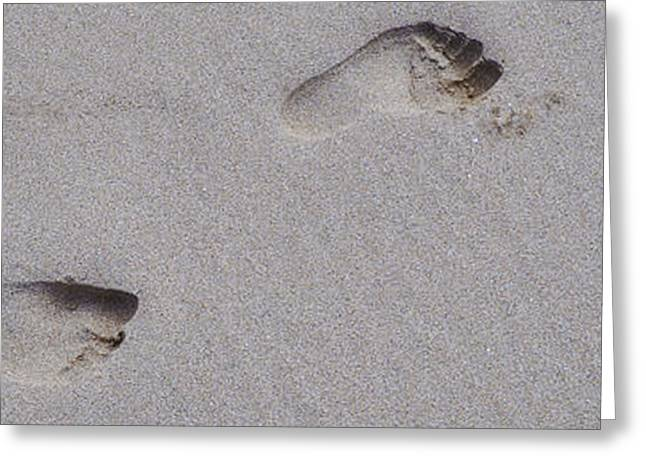 Aquatic Greeting Cards - Footprints in the sand Greeting Card by Phill Petrovic