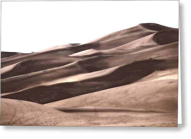 Great Sand Dunes National Park Greeting Cards - Footprints Into Copper Dunes Greeting Card by Adam Pender