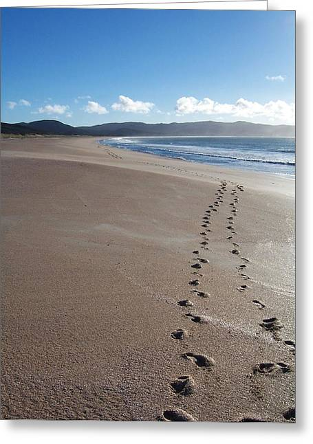 Aotearoa Greeting Cards - Footsteps in the Sand Greeting Card by Peter Mooyman