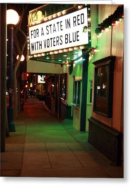 Voters Greeting Cards - For A State in Red with Voters Blue Greeting Card by K W