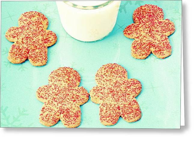 Milk And Cookies Greeting Cards - For Santa Greeting Card by Robin Dickinson