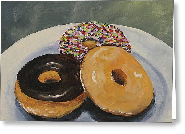 Donuts Paintings Greeting Cards - For the Love of Krispy Kreme Greeting Card by Torrie Smiley
