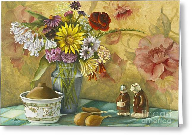 Checked Tablecloths Paintings Greeting Cards - For What We are about to Receive Greeting Card by Marlene Book