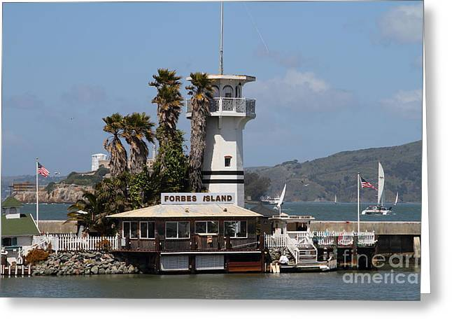 Alcatraz Greeting Cards - Forbes Island Restaurant With Alcatraz Island in The Background . San Francisco California . 7D14258 Greeting Card by Wingsdomain Art and Photography