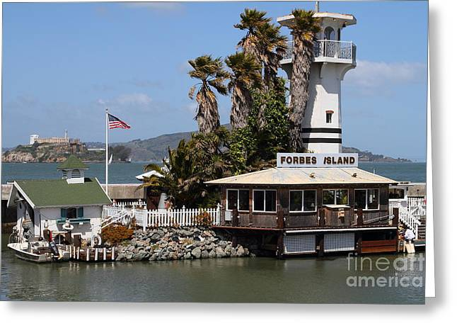 Forbes Island Restaurant With Alcatraz Island In The Background . San Francisco California . 7d14261 Greeting Card by Wingsdomain Art and Photography