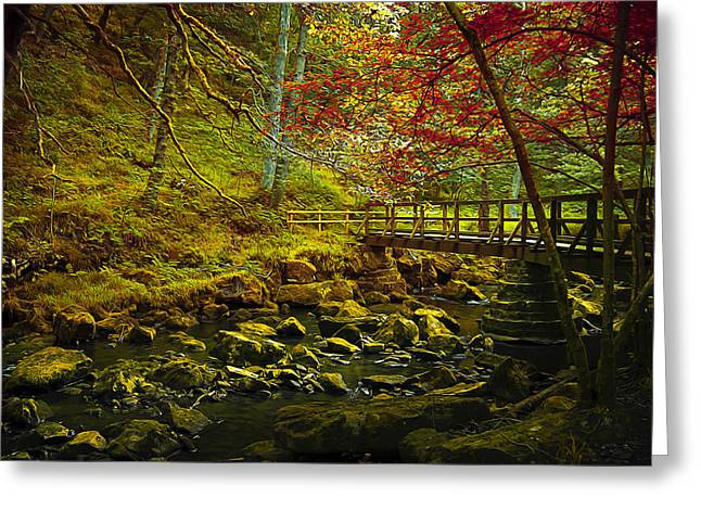 Surreal Landscape Mixed Media Greeting Cards - Forbidden Bridge  Greeting Card by Svetlana Sewell