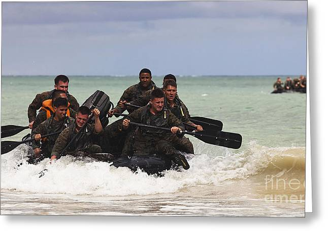 Inflatable Raft Greeting Cards - Force Reconnaissance Marines Paddle Greeting Card by Stocktrek Images