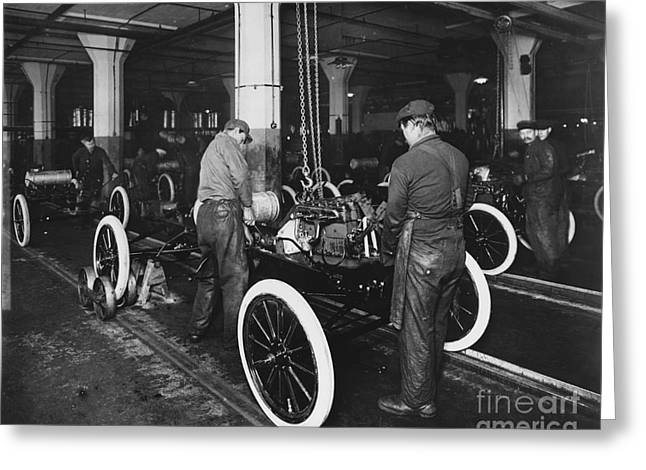 Ford Model T Car Greeting Cards - Ford Assembly Line Greeting Card by Omikron