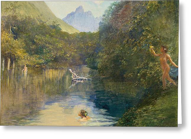 Arcadia Greeting Cards - Ford at the Upper End of the Vai-Te-Piha Greeting Card by John LaFarge