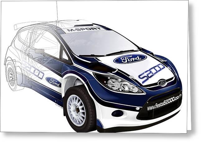 Wrc Greeting Cards - Ford Fiesta WRC Rally car Greeting Card by Roy Scorer