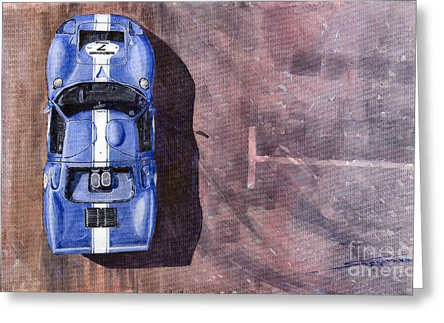 Blue Classic Car Greeting Cards - Ford GT40 Leman Classic Greeting Card by Yuriy  Shevchuk