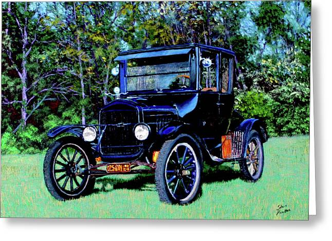 Ford Model T Car Paintings Greeting Cards - Ford Model T Greeting Card by Stan Hamilton
