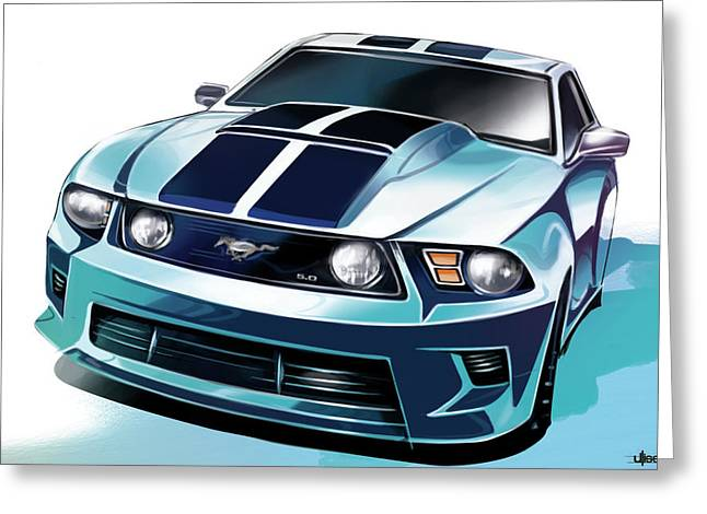 Automobile Artwork. Greeting Cards - Ford Mustang 5.0 Greeting Card by Uli Gonzalez