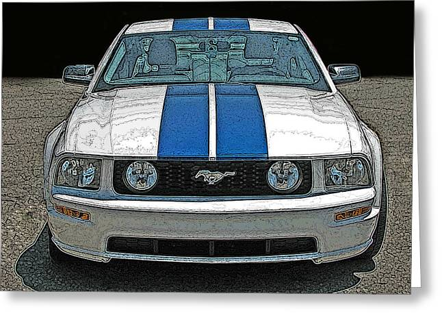 Samuel Sheats Greeting Cards - Ford Mustang GT Front View Greeting Card by Samuel Sheats