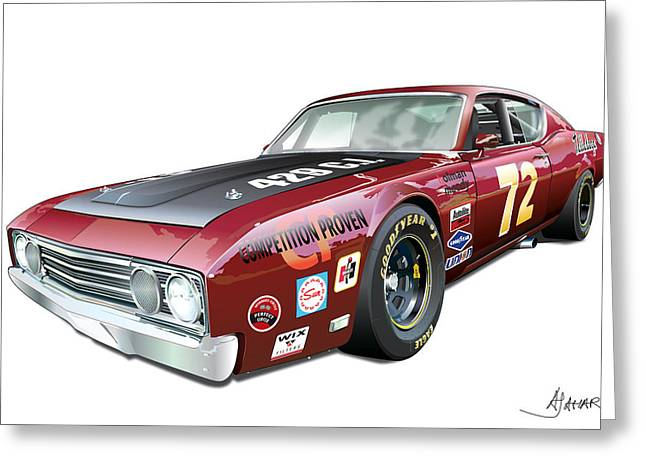 Automotive Illustration Greeting Cards - Ford Torino Talladega Greeting Card by Alain Jamar