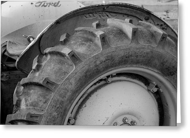 Tire Greeting Cards - Ford Tractor in Black and White Greeting Card by Jennifer Lyon