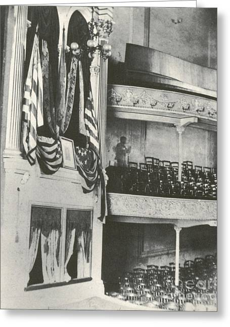 Political Figures Greeting Cards - Fords Theater, Lincoln Assassination Greeting Card by Photo Researchers
