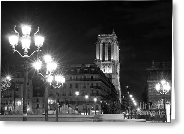 Night Lamp Greeting Cards - Foreshortening of Paris by night Greeting Card by Fabrizio Ruggeri