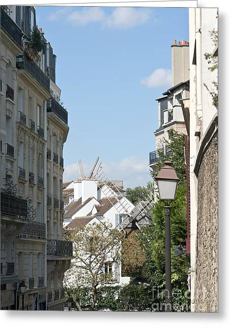Rue Lepic Greeting Cards - Foreshortening of Paris with windmill sails Greeting Card by Fabrizio Ruggeri
