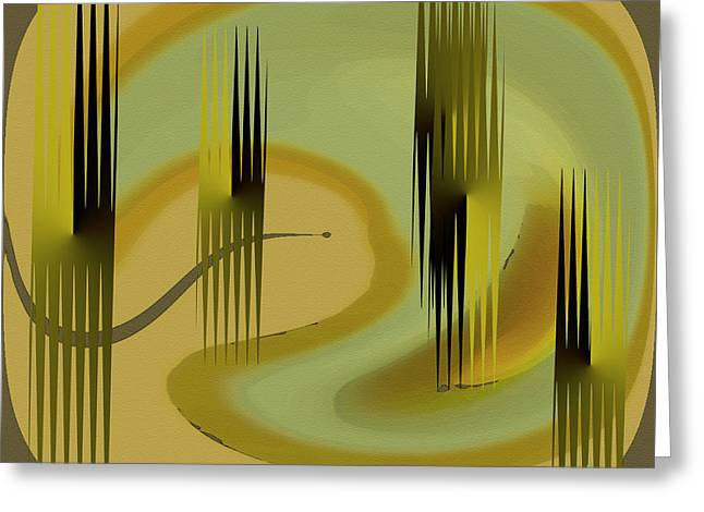 Green And Yellow Abstract Greeting Cards - Forest Greeting Card by Ben and Raisa Gertsberg