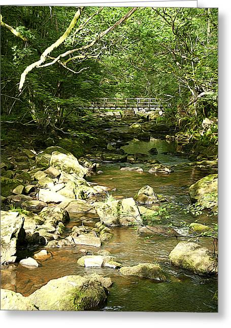 Magneta Greeting Cards - Forest Bridge Greeting Card by Svetlana Sewell