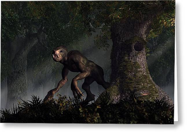 Creepy Digital Art Greeting Cards - Forest Creeper Greeting Card by Daniel Eskridge