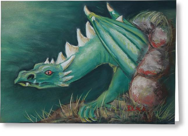 Fantasy Creatures Pastels Greeting Cards - Forest Dragon Greeting Card by Dianne  Ilka