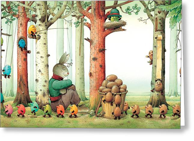 Egg Greeting Cards - Forest Eggs Greeting Card by Kestutis Kasparavicius
