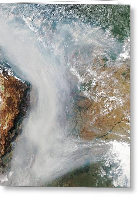 Forest Fires In South America Greeting Card by Nasa
