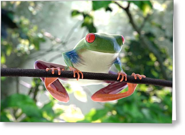 Ilendra Vyas Greeting Cards - Forest Frog Greeting Card by Ilendra Vyas
