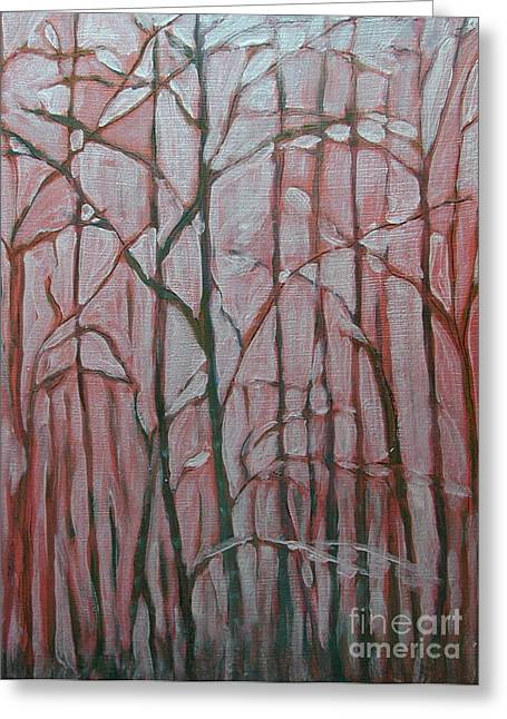Anna Maciejewska-dyba Greeting Cards - Forest in the Fog Greeting Card by Anna Folkartanna Maciejewska-Dyba