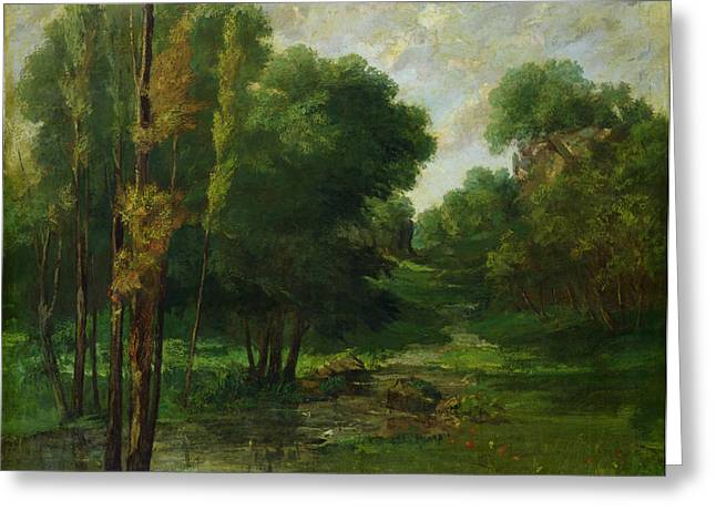 Outdoors Greeting Cards - Forest Landscape Greeting Card by Gustave Courbet