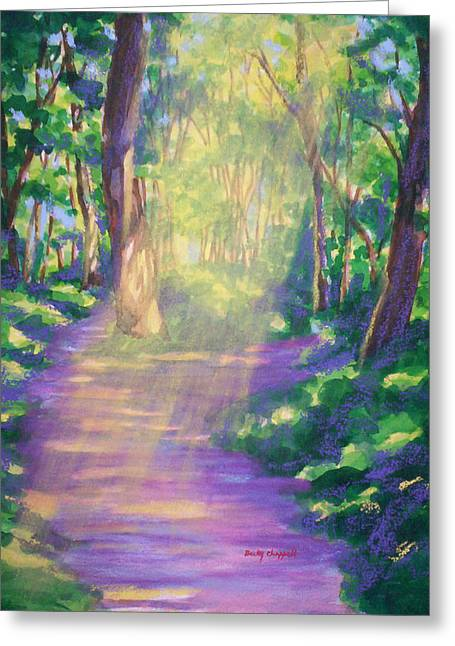 Dappled Light Mixed Media Greeting Cards - Forest Light Greeting Card by Becky Chappell