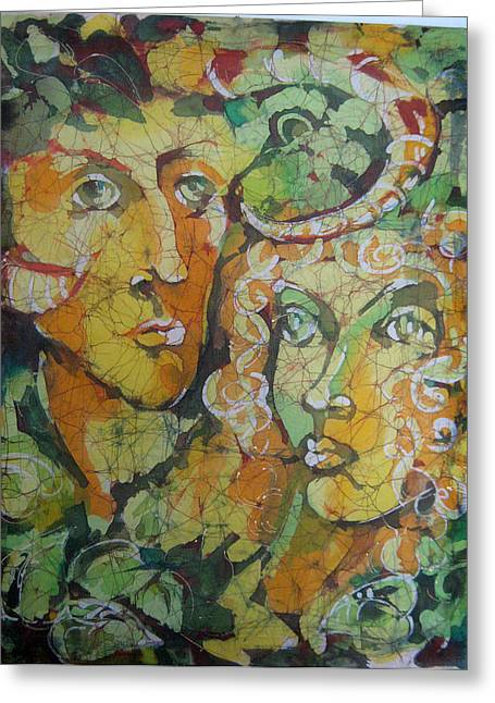 People Tapestries - Textiles Greeting Cards - Forest People Greeting Card by Nadejda Lilova