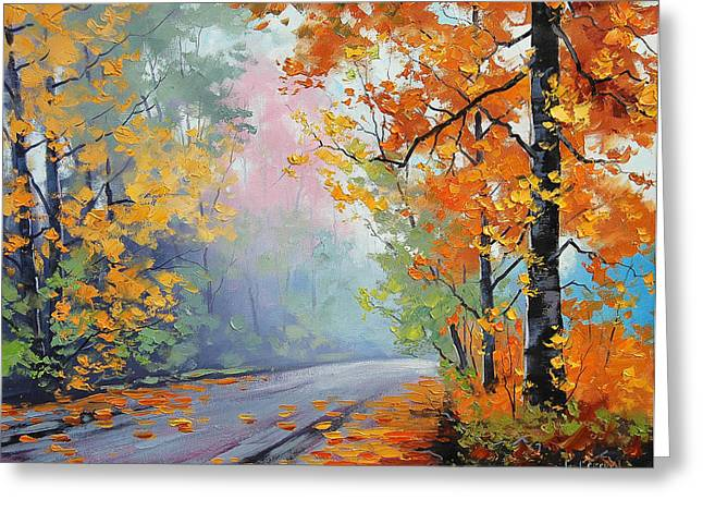 Fall Trees Greeting Cards - Forest Road Greeting Card by Graham Gercken
