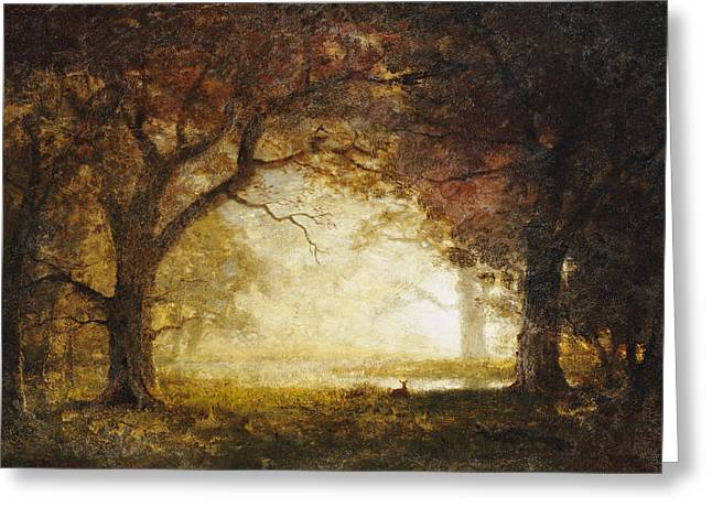 Fawn Greeting Cards - Forest Sunrise Greeting Card by Albert Bierstadt